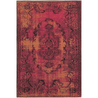 Traditional Distressed Overdyed Oriental Pink/ Yellow Rug (7'10 x 10'10)