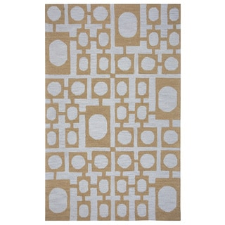 Arden Loft Hand-tufted Gold Geometric Easley Meadow Collection Wool Area Rug (2'6 x 8')