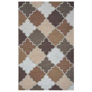 Arden Loft Hand-tufted Beige Ornamental Easley Meadow Collection Wool Area Rug (8' x 10)