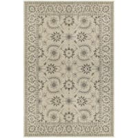 Traditional Floral Oriental Ivory/ Grey Rug - 8' x 10'