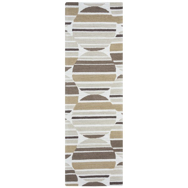 "Arden Loft Hand-tufted Beige Geometric Easley Meadow Collection Wool Area Rug - 2'6"" x 8'"