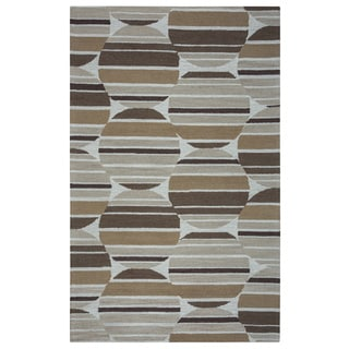 Arden Loft Hand-tufted Beige Geometric Easley Meadow Collection Wool Area Rug (2'6 x 10')