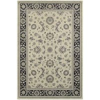 """Bordered Traditional Persian Ivory/ Navy Rug (7'10 x 10'10) - 7'10"""" x 10'10"""""""