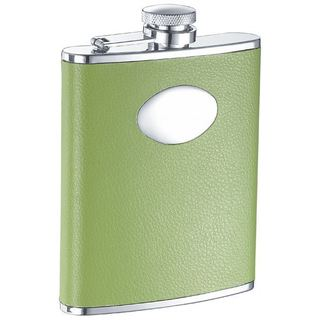 Visol Lily Pad Light Green Leather Liquor Flask - 6 ounces