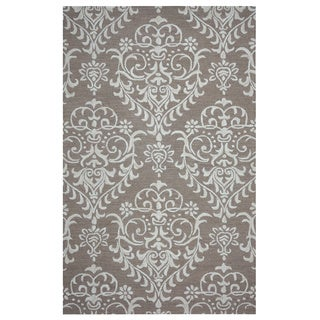 Arden Loft Hand-tufted Brown Damask  Falmouth Fields Collection Wool Area Rug (8' x 10')