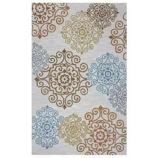 Arden Loft Hand-tufted Beige Damask Falmouth Fields Collection Wool Area Rug (2'6 x 10')