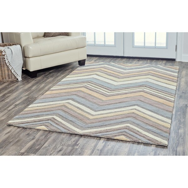 Arden Loft Hand-tufted Natural Ornamental Lisbon Corner Collection Wool Area Rug - 5' x 8'