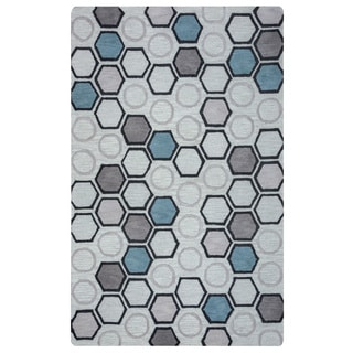 Arden Loft Hand-tufted Natural Geometric Lisbon Corner Collection Wool Area Rug (9' x 12')
