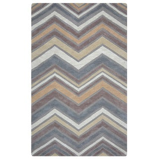 Arden Loft Hand-tufted Natural Chevron Lisbon Corner Collection Wool Area Rug (9' x 12')