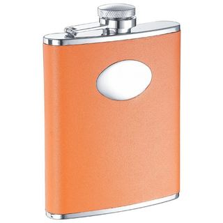 Visol Sunbeam Orange Leather Liquor Flask - 6 ounces