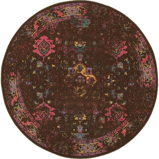 Traditional Distressed Overdyed Persian Brown/ Multi-colored Area Rug (7'8 x 7'8)