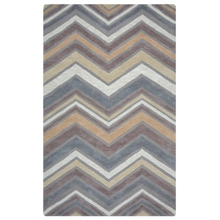 Arden Loft Hand-tufted Natural Chevron Lisbon Corner Collection Wool Area Rug (2'6 x 8')