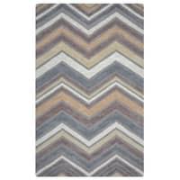 Arden Loft Hand-tufted Natural Chevron Lisbon Corner Collection Wool Area Rug - Multi - 2'6 x 8'