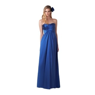Bari Jay Women's Strapless Shirred Bust Grecian Drape Evening Dress