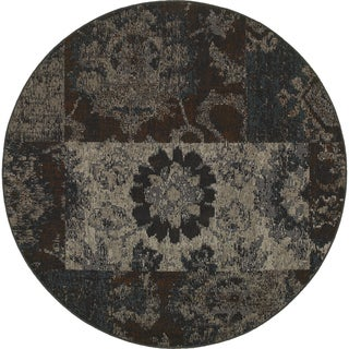 Distressed Overdyed Patchwork Charcoal/ Teal Rug (7'8 x 7'8)