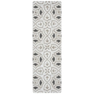 "Arden Loft Hand-tufted Ivory Ornamental Lisbon Corner Collection Wool Area Rug (2'6 x 8') - 2'6"" x 8'"