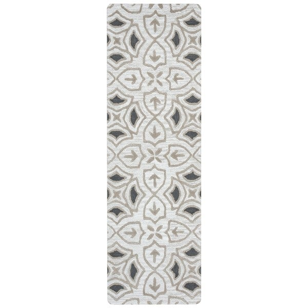 Arden Loft Hand-tufted Ivory Ornamental  Lisbon Corner Collection Wool Area Rug (2'6 x 8')