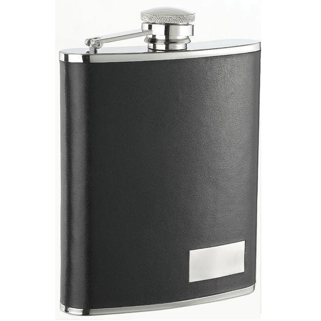 Visol Eclipse S Black Leather Liquor Flask - 18 ounces (B...