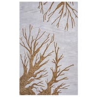 Arden Loft Hand-tufted Natural Floral Lewis Manor Collection Wool Area Rug - 5' x 8'