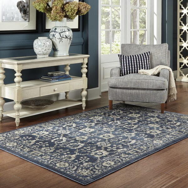 Persian All-Over Persian Navy/ Grey Rug (7'10 x 10'10)