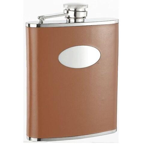 Visol Bobcat Brown Leather Liquor Flask - 18 ounces