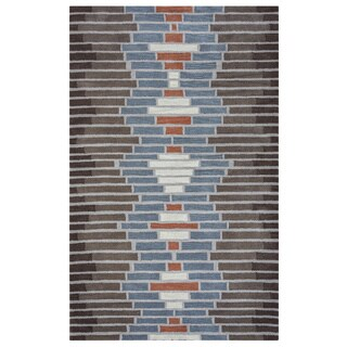 Arden Loft Hand-tufted Brown Geometric Lewis Manor Collection Wool Area Rug (8' x 10')