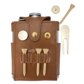 Visol GB Brown Leather Liquor Flask with Golf Tools - 6 ounces