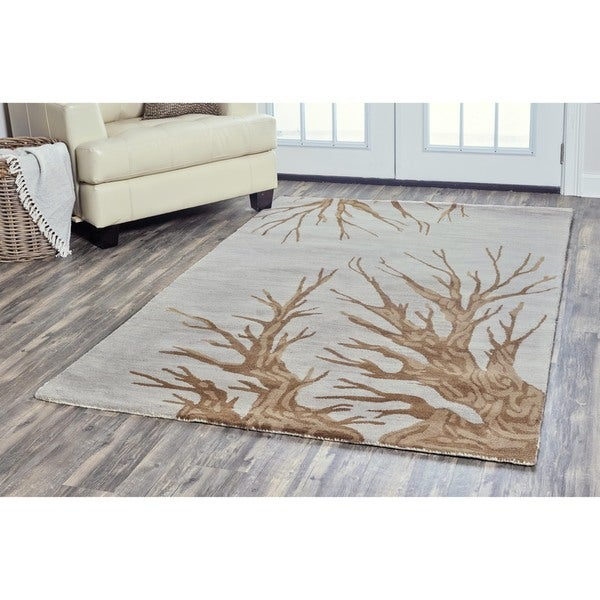 Arden Loft Hand Tufted Natural Tree Trunks Lewis Manor Collection Wool Area Rug 8