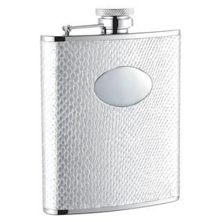 Visol Brilliance White Snakeskin Pattern Liquor Flask - 6 ounces