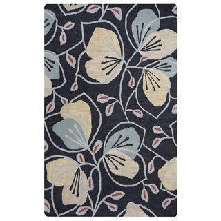 Arden Loft Hand-tufted Grey Floral Lewis Manor Collection Wool Area Rug (2'6 x 8')