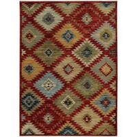 Southwest Tribal Red/ Multi-colored Rug - 7'10 x 10'10
