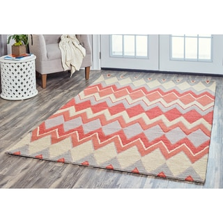 Arden Loft Hand-tufted Natural Chevron River Hill Collection Wool Area Rug (5' x 8')