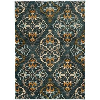 "Oranate Quatrefoil Blue/ Gold Rug (7'10 x 10'10) - 7'10"" x 10'10"""