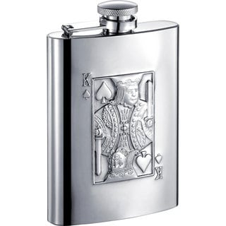 Visol King of Spades Embossed Stainless Steel Liquor Flask - 6 ounces