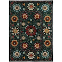 Multi-colored Floral Blue/ Multi-colored Rug - 8' x 10'