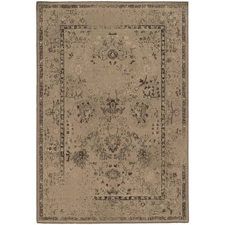 Eroded Traditional Tan/ Brown Rug (7'10 x 10'10)