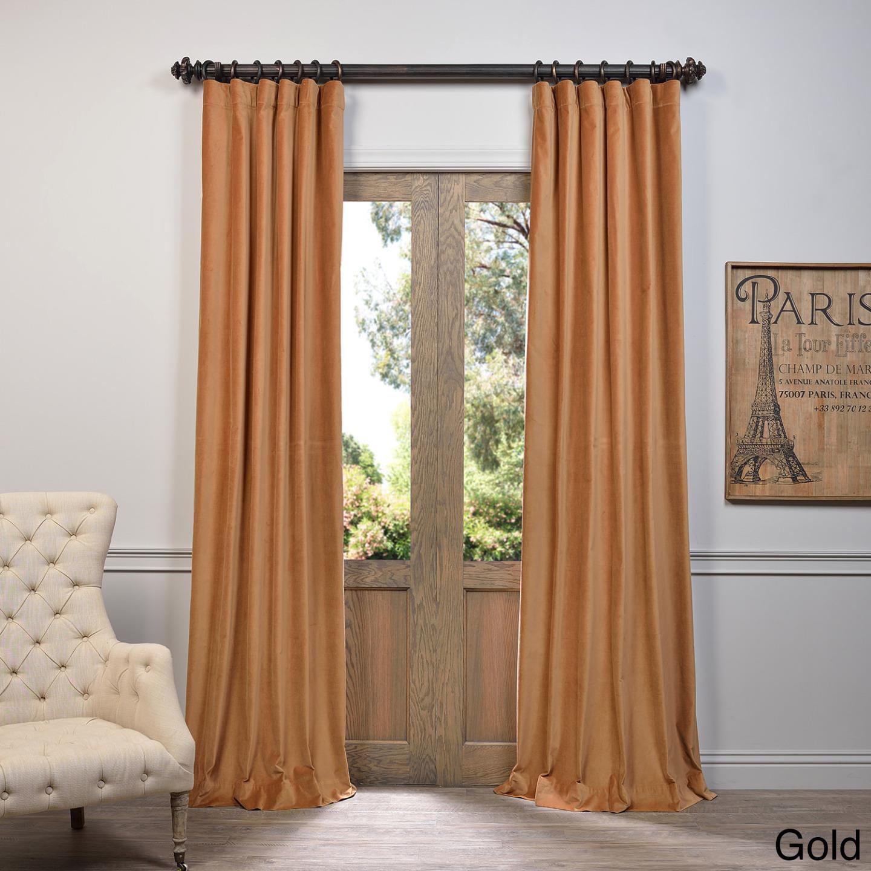 exclusive fabrics vintage cotton velvet 108 inch length curtain panel ebay. Black Bedroom Furniture Sets. Home Design Ideas
