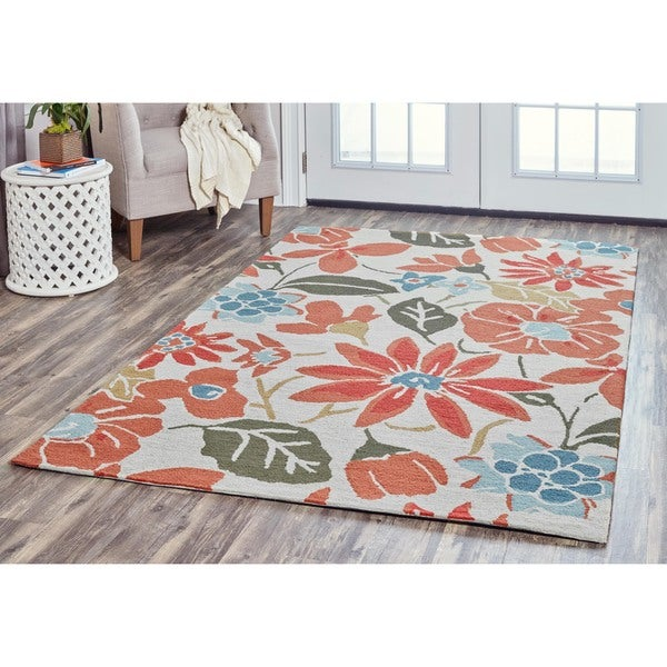 Arden Loft Hand-tufted Ivory Fractured Ikat River Hill Collection Wool Area Rug (5' x 8') - 5' x 8'