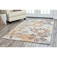Arden Loft Hand-tufted Beige Floral River Hill Collection Wool Area Rug (8' x 10') - 8' x 10'