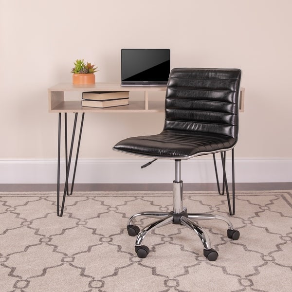 Low Back Designer Armless Ribbed Swivel Task Office Chair - Home Office