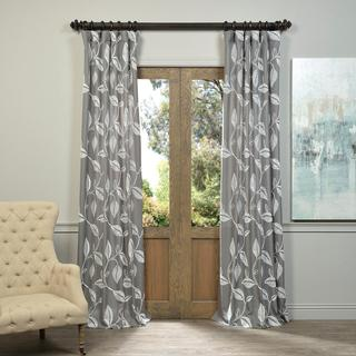 Exclusive Fabrics Willow Embroidered Crewel Faux Linen Curtain Panel