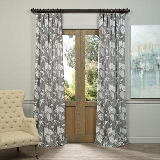 Exclusive Fabrics Vine Embroidered Crewel Faux Linen Curtain Panel