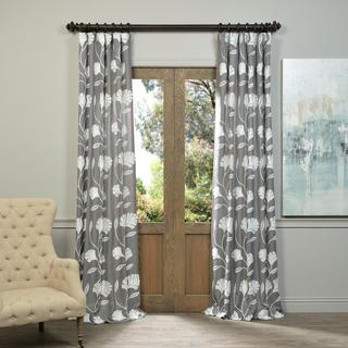 Exclusive Fabrics Ginko Embroidered Faux Crewel Linen Curtain Panel