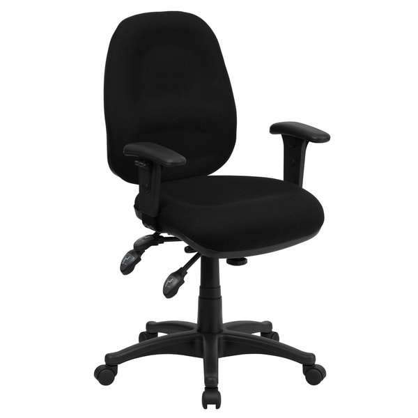Mid-Back Black Fabric Multifunction Ergonomic Office Chair with Adjustable Arms