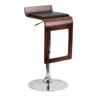 Offex Walnut Bentwood Adjustable Height Bar Stool with Black Vinyl Seat and Drop Frame