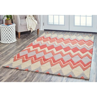Arden Loft Hand-tufted Natural Chevron River Hill Collection Wool Area Rug (10' x 14')