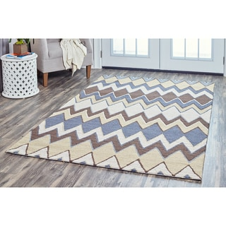 Arden Loft Hand-tufted Grey Chevron River Hill Collection Wool Area Rug (8' x 10')
