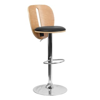 Offex Beech Bentwood Adjustable Height Bar Stool with Black Vinyl Seat and Cutout Back