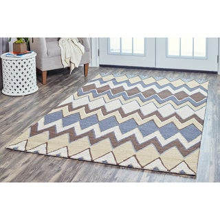 Arden Loft Hand-tufted Grey Floral River Hill Collection Wool Area Rug (10' x 14')