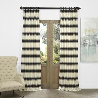 Exclusive Fabrics Bold Horizontal Stripe Jacquard Curtain Panel